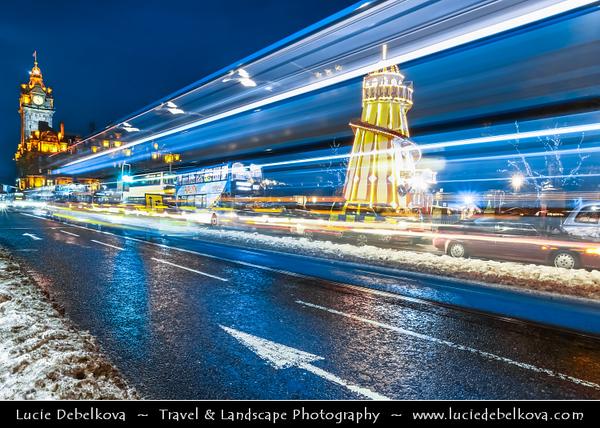 Europe - UK - Scotland - Edinburgh - Dùn Èideann - Capital city of Scotland & Seat of Scottish Parliament - Winter scene under heavy snow cover - Dusk - Twilight - Blue Hour - Night