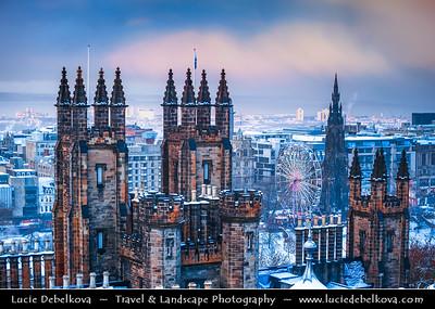 Europe - UK - Scotland - Edinburgh - Dùn Èideann - Capital city of Scotland & Seat of Scottish Parliament - View of Old Town & Free Church College - Winter scene under heavy snow cover