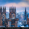 Europe - UK - Scotland - Edinburgh - Dùn Èideann - Capital city of Scotland & Seat of Scottish Parliament - View of Old Town & Free Church College - Winter scene under heavy snow cover