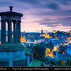 Europe - UK - United Kingdom - Scotland - Edinburgh - Dùn Èideann - Capital city of Scotland & Seat of Scottish Parliament - City View from Calton Hill with the Dugald Stewart Monument in the Foreground during Summer Blue Hour - Dusk - Twilight - Night