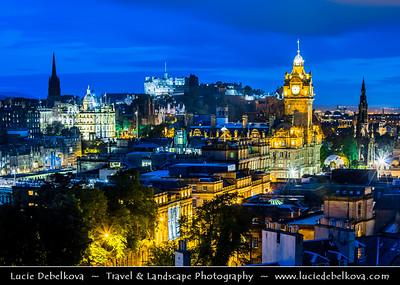 Europe - UK - United Kingdom - Scotland - Edinburgh - Dùn Èideann - Capital city of Scotland & Seat of Scottish Parliament - City View from Calton Hill featuring the impressive Balmoral Hotel Clock Tower at Blue Hour - Dusk - Twilight - Night