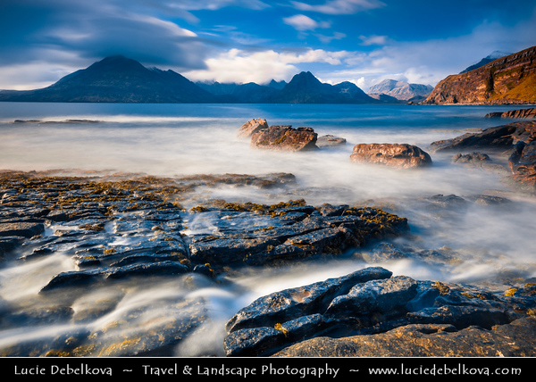 Europe - UK - Scotland - Inner Hebrides - Isle of Skye - Elgol - Ealaghol - Crofting & fishing Village on the shores of Loch Scavaig towards the end of the Strathaird peninsula with stunning view over Cuillin Hills