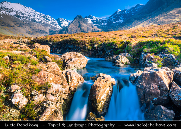 Europe - UK - Scotland - Inner Hebrides - Isle of Skye - Fairy Pools near Glenbrittle at the foot of the Black Cuillin Mountains