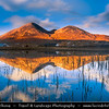UK - Scotland - Inner Hebrides - Isle of Skye - On the way to Elgol - Beinn Dearg Mhór and Loch Ainort - Red Cuillin Hills of Skye reflected at Sunset