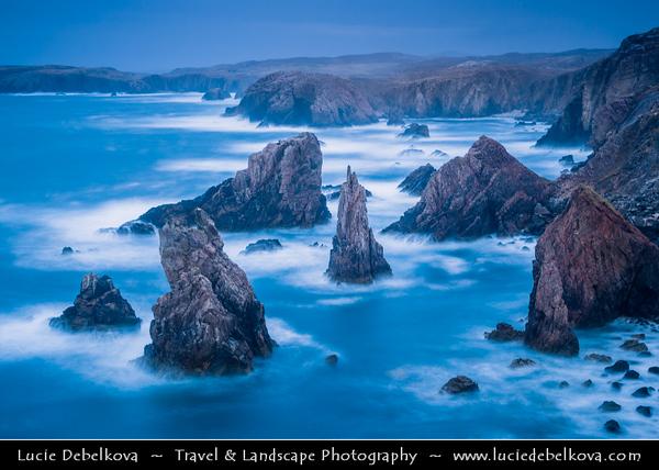 Europe - UK - Scotland - Western Isles of Scotland - Outer Hebrides - Isle of Lewis - Mangurstadh - Mangursta Needles - Rugged sea stacks on the west Atlantic coastline of the Isle of Lewis