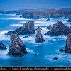 Europe - UK - Scotland - Western Isles of Scotland - Outer Hebrides - Isle of Lewis - Mangurstadh - Mangursta Needles - Rugged sea stacks on the west Atlantic coastline of the Isle of Lewis