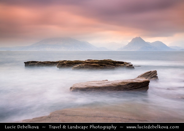 Europe - UK - Scotland - Inner Hebrides - Isle of Skye - Elgol - Ealaghol - Crofting & fishing Village on the shores of Loch Scavaig towards the end of the Strathaird peninsula with stunning view over Cuillin Hills at moody misty weather