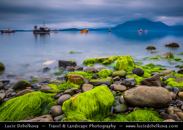 Europe - UK - United Kingdom - Scotland - Inner Hebrides - Isle of Skye - Elgol - Ealaghol - Crofting & fishing Village on shores of Loch Scavaig towards end of Strathaird peninsula with stunning view over Cuillin Hills at moody weather