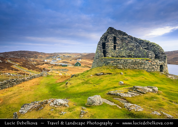 Europe - UK - Scotland - Western Isles of Scotland - Outer Hebrides - Isle of Lewis - Dun Carloway Broch - Doune Carloway - Iron Age Broch is a structure built as a means of defence