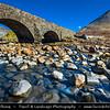 Europe - UK - United Kingdom - Scotland - Inner Hebrides - Isle of Skye - Glen Sligachan - Sligeachan - Skye crossroad with great views over Cuillin mountains - Traditional historical arched bridge