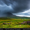 UK - Scotland - Inner Hebrides - Isle of Skye - On the way to Elgol - Large storm approaching Red Cuillin Hills of Skye