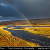 Europe - UK - United Kingdom - Scotland - Western Scottish Highlands - Landscape around Loch Gowan - Freshwater loch in Wester Ross - Dramatic changeable weather with rainbow