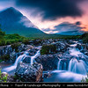 Europe - UK - United Kingdom - Scotland - Western Highlands - Buachaille Etive Mòr - Pyramid mountain at the head of Glen Etive and Glencoe with small waterfall in foreground