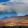 UK - Scotland - Highlands - Sutherland - Northern areas - Moine Thrust Belt - Foinaven - Classic glacier glen - valley at dramatic stormy  weather
