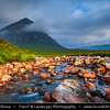 Europe - UK - United Kingdom - Scotland - Western Highlands - Buachaille Etive Mòr - Pyramid mountain at head of Glen Etive & Glencoe captured from nearby water stream with surrounding rugged landscape