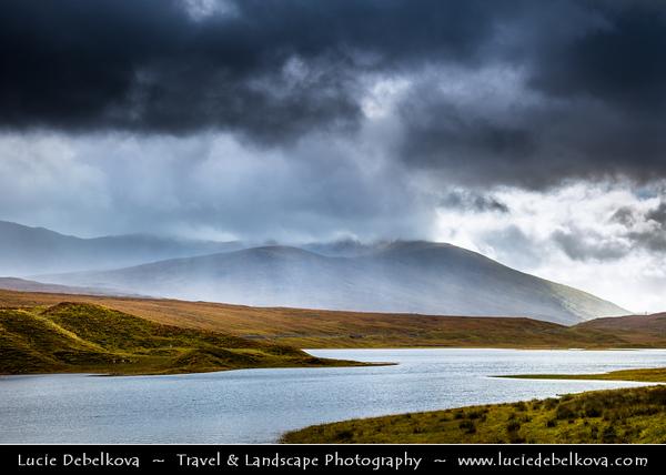 Europe - UK - United Kingdom - Scotland - Western Scottish Highlands - Landscape around Loch Gowan - Freshwater loch in Wester Ross - Dramatic changeable weather