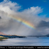 Europe - UK - United Kingdom - Scotland - Western Scottish Highlands - Loch Carron - Loch Carrann - Sea loch on west coast of Ross and Cromarty Highlands - Viewing point above Stromeferry with Rainbow