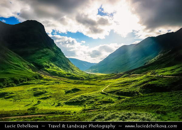 UK - Scotland - Scottish Highlands - Stunning evening ligh over rich green summer landscape of Glen Coe - Gleann Comhan - Considered as one of the most spectacular & beautiful places in Scotland - Part of National Scenic Area of Ben Nevis and Glen Coe