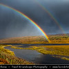Europe - UK - United Kingdom - Scotland - Western Scottish Highlands - Landscape around Loch Gowan - Freshwater loch in Wester Ross - Dramatic changeable weather with rainbow