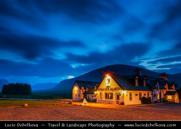 Europe - UK - United Kingdom - Scotland - Western Scottish Highlands - The Kings House Hotel in Glencoe surrounded rugged landscape - Twilight - Blue Hour - Night - Dusk