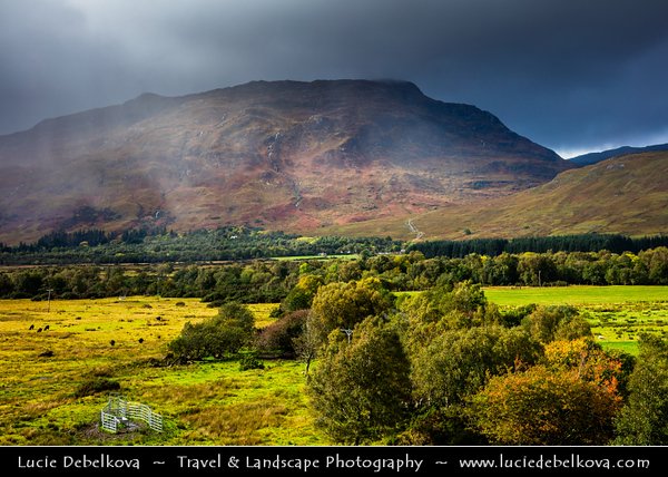 Europe - UK - United Kingdom - Scotland - Western Scottish Highlands - Landscape around Loch Carron - Loch Carrann - Sea loch on west coast of Ross and Cromarty Highlands - Dramatic changeable weather with rainbow