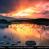 Europe - UK - United Kingdom - Scotland - Western Scottish Highlands - Rannoch Moor - Mòinteach Raineach/Raithneach - Large expanse of around 50 square miles (130 km²) of boggy moorland to west of Loch Rannoch - Spectacular waterscape scene during sunset