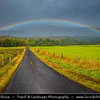 Europe - UK - United Kingdom - Scotland - Loch Lomond & Trossachs National Park - Landscape along River Dochart near Loch Lubhair in Glen Dochart during dramatic changeable weather with rainbow