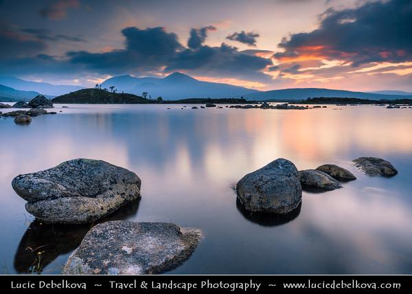 Europe - UK - United Kingdom - Scotland - Western Scottish Highlands - Rannoch Moor - Mòinteach Raineach/Raithneach - Large expanse of around 50 square miles (130 km²) of boggy moorland to west of Loch Rannoch - Spectacular waterscape scene during sunset