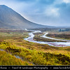 Europe - UK - United Kingdom - Scotland - Western Scottish Highlands - Glencoe valley - Meeting of Three Waters next to Three Sisters of Glen Coe