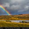 Europe - UK - United Kingdom - Scotland - Western Scottish Highlands - Landscape around Loch Dughaill - Freshwater tidal loch on River Carron in Wester Ross - Dramatic changeable weather with rainbow