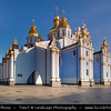 Europe - Ukraine - Kiev - St. Michael's Golden-Domed Monastery - Михайлівський золотоверхий монастир - Mykhaylivs'kyi zolotoverkhyi monastyr - Iconic blue colored monastery & historical landmark in front of St. Michael's Square
