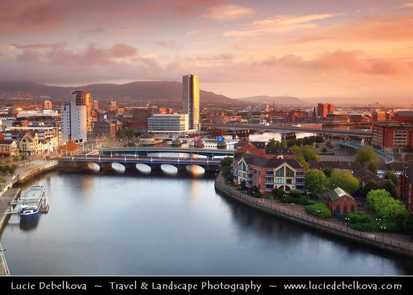 Europe - UK - Northern Ireland - Belfast - Béal Feirste - Capital of NI along river Lagan - Abhainn an Lagáin - Central Cityscape along newly developed waterfront captured from above captured during wonderful warm morning light