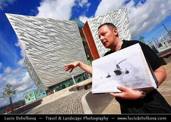 Europe - UK - Northern Ireland - Belfast - Béal Feirste - Capital of NI along river Lagan - Abhainn an Lagáin - Titanic Belfast - Iconic building shaped like ship bows - 4 floors to travel through time from Titanic creation to its tragic end - Titanic Walking Tour - Journey into the past - Drawing Office, Slipway, Dock, Pump-House