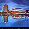 Europe - UK - Northern Ireland - Belfast - Béal Feirste - Capital of NI along river Lagan - Central Cityscape along waterfront - Waterfront Hall - Award-winning conference, arts, entertainment centre & multi-purpose facility designed by local architects' firm Robinson McIlwaine