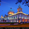 UK - Northern Ireland - Belfast - Belfast City Hall on Donegall Square - Gem of Victorian architecture - Dusk - Twilight - Blue Hour - Night
