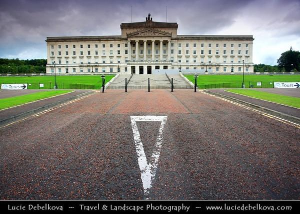 Europe - UK - Northern Ireland - Belfast - Béal Feirste - Capital of NI along river Lagan - Abhainn an Lagáin - Stormont Parliament - Seat of Northern Ireland Assembly, devolved legislature for Northern Ireland