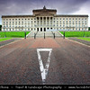 Europe - UK - Northern Ireland - Belfast - Béal Feirste - Capital of NI along river Lagan - Abhainn an Lagáin - Stormont Parliament - Seat of Northern Ireland Assembly, devolved legislature for Northern Ireland