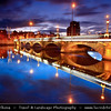 Europe - UK - Northern Ireland - Belfast - Béal Feirste - Capital of NI along river Lagan - Central Cityscape along waterfront - Queens Bridge at Dusk - Twilight - Blue Hour