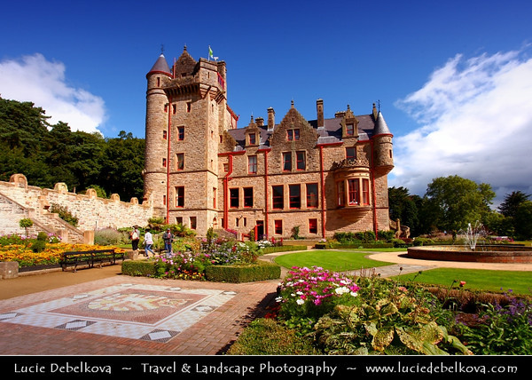UK - Northern Ireland - Belfast - Belfast Castle towers over the city below - Situated on Cave Hill, the castle is closely linked with the history of Belfast City