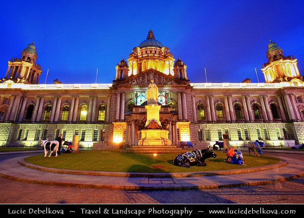 Europe - UK - Northern Ireland - Belfast - Béal Feirste - Capital of NI along river Lagan - Abhainn an Lagáin - City centre & central business district - Belfast City Hall on Donegall Square - Gem of Victorian architecture - Dusk - Twilight - Blue Hour - Night