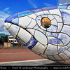 UK - Northern Ireland - Belfast - City waterfront area - Big Fish Statue by John Kindness on Donegall Quay