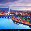 Europe - UK - Northern Ireland - Belfast - Béal Feirste - Capital of NI along river Lagan - Abhainn an Lagáin - Central Cityscape along newly developed waterfront captured from above