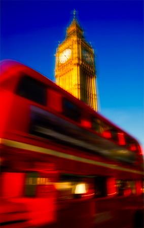 Big Ben Above Double Decker Bus - London, UK