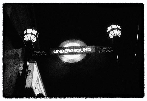 London Underground Sign at Night - London, UK