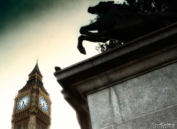 Big Ben & Boadicea and Her Daughters Statue - London, UK