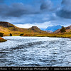 Europe - UK - United Kingdom - Scotland - Western Scottish Highlands - Western Ross - Gruinard river flowing into Gruinard Bay surrounded by spectacular mountain landscape