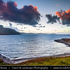 Europe - UK - United Kingdom - Scotland - Western Scottish Highlands - Ross and Cromarty - Rhue Lighthouse vantage point looking up Loch Broom - Dramatic Sunset