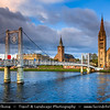 UK - Scotland - Inverness - Old Town - The Old High Church & The Free North Church straddle the River Ness Footbridge