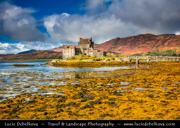 Europe - UK - United Kingdom - Scotland - Eilean Donan Castle - Eilean Donnain - Small island in Loch Duich in Western Highlands - Picturesque castle widely familiar from many photographs & appearances in film & television