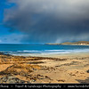 UK - Scotland - Highlands - Sutherland - Beautiful sandy beaches & dunes of Faraid Head just west of Durness, with good views over Cape Wrath - Stormy and dramatic morning light